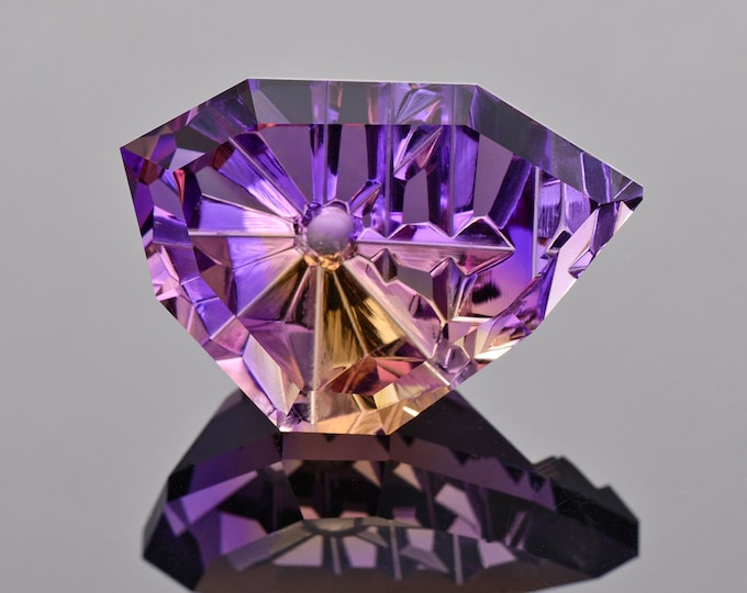 SALE! Remarkable Bi Color Ametrine Quartz Gemstone from Bolivia, 29.76 cts.,  27 x 18 mm., Fantasy Cut Freeform Shape