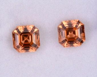 Fantastic Orange Zircon Gemstone Match Pair from Tanzania, 4.34 tcw., 6.5 mm., Asscher Cut