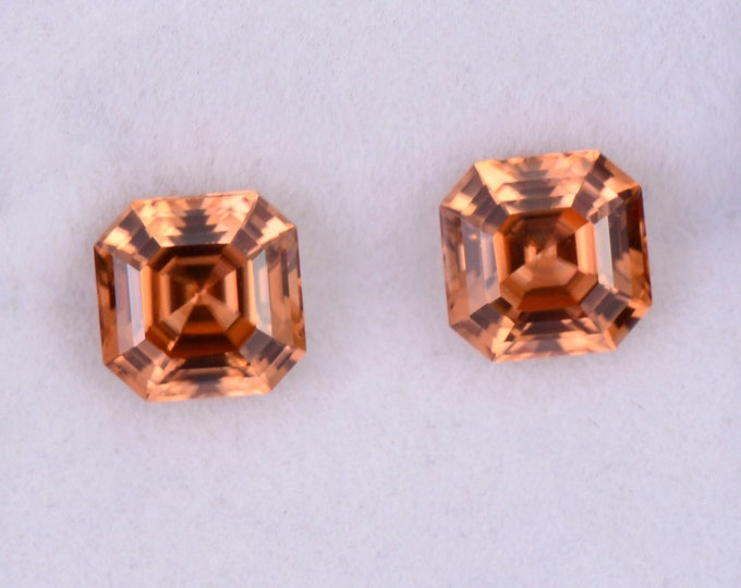 SALE! Fantastic Orange Zircon Gemstone Match Pair from Tanzania, 4.34 tcw., 6.5 mm., Asscher Cut