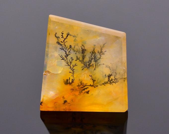 Fancy Orange Dendritic Quartz Gemstone from Brazil, 18.86 cts., 17.7x16.1 mm., Shield Shape