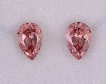 Fabulous Pink Champagne Zircon Gemstone Match Pair, 2.14 tcw., 7x5 mm., Pear Shapes