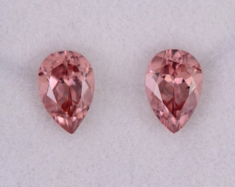 SALE! Fabulous Pink Champagne Zircon Gemstone Match Pair, 2.14 tcw., 7x5 mm., Pear Shapes