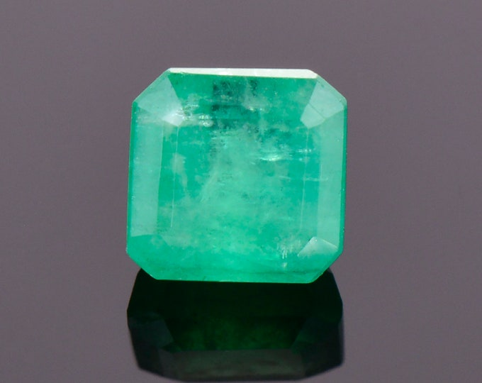 SALE! Excellent Rich Green Emerald Gemstone from Colombia, 1.22 cts., 6 mm., Asscher Cut