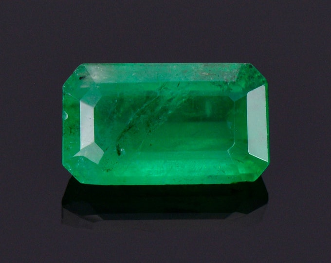 Excellent Rich Green Emerald Gemstone from Colombia, 1.63 cts., 9.4x5.5 mm., Step Emerald Cut