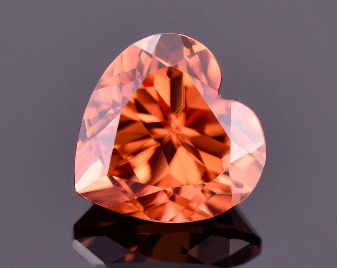 SALE! Brilliant Orange Zircon Gemstone from Tanzania, 2.48 cts., 7.5 mm., Heart Shape
