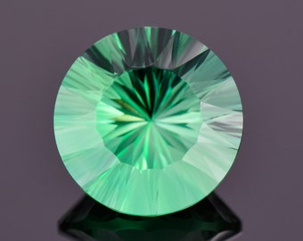 Fantastic Rich Green Fluorite Gemstone for England, Daylight Fluorescent, 12.88 cts., 15 mm., Concave Round Cut