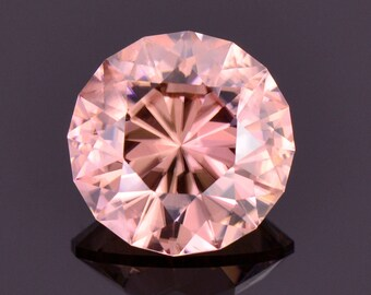 Superb Peachy Pink Zircon Gemstone from Tanzania, 8.14 cts., 11.5 mm., Modified Round Brilliant Cut