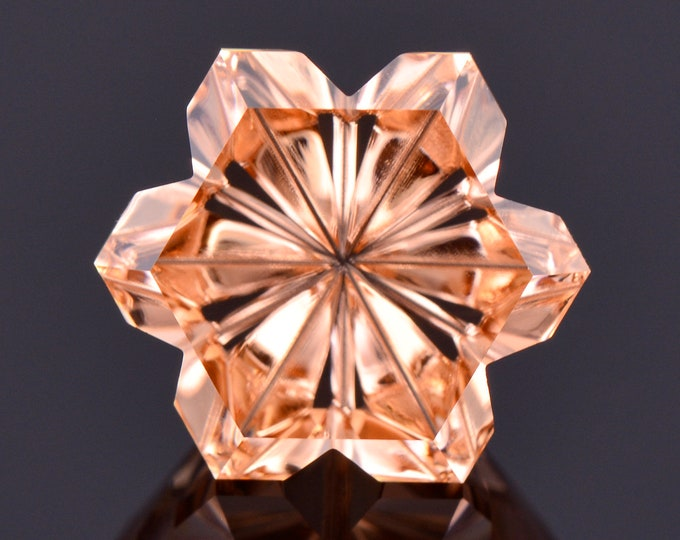 Featured listing image: SPRING SALE! Exquisite Fantasy Cut Flower Zircon Gemstone from Tanzania, 5.43 cts., 9.45 mm, Peach Champagne Color