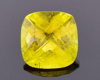 Neon Yellow Sunset Tourmaline Gemstone from Tanzania, 5.47 cts., 10.8 mm., Square Cushion Shape