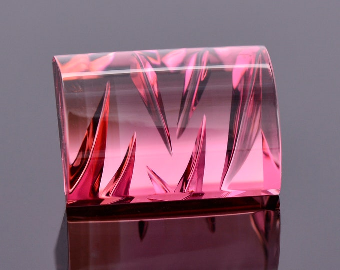 SALE! Gorgeous Rose Pink Fantasy Tourmaline Gemstone from Nigeria, 8.86 cts., 13x9 mm., Domed Bar Shape, Ordered Chaos Series