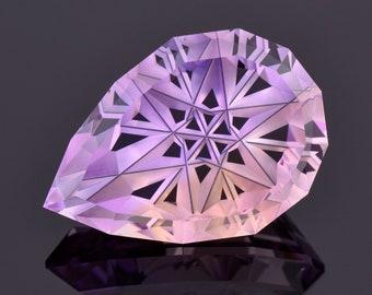 Exquisite Fantasy Cut Ametrine Gemstone from Bolivia, 21.16 cts., 24x17 mm., Fantasy Star Pear Shape