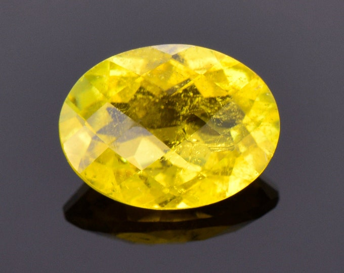 SALE! Bright Canary Yellow Sunset Tourmaline Gemstone, 4.40 cts., 12.4x9.3 mm., Oval Shape