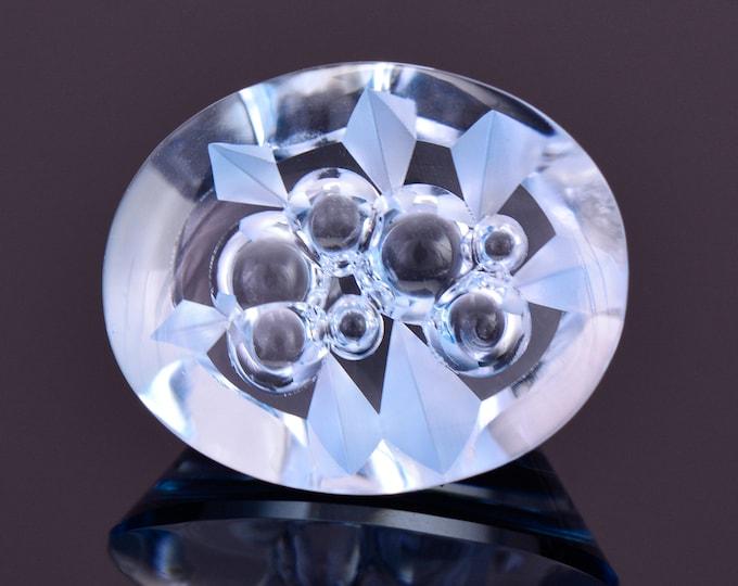 SALE! Fantastic Sky Blue Fantasy Cut Topaz Gemstone, 15.91 cts., 17x14 mm., Smooth Bubble Oval Shape