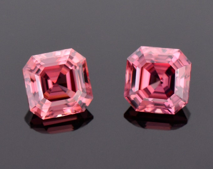 Fantastic Rose Pink Zircon Gemstone Match Pair, 4.36 tcw., 6.5 mm., Asscher Cut