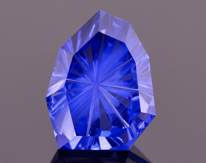 Incredible Vibrant Blue Fantasy cut Sapphire Gemstone from Madagascar, 4.11 cts., 10x8 mm, Freeform Radial Cut