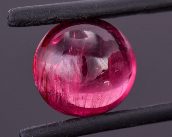 Enchanting Rich Red Rubellite Gemstone from Brazil, 7.38 cts., 12.4x11.6 mm., Oval Cabochon