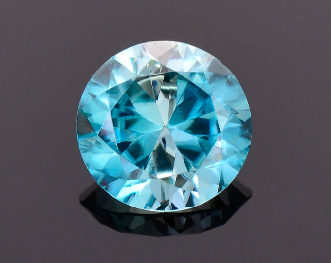Excellent Blue Zircon Gemstone from Cambodia, 3.12 cts., 8.7 mm., Round Brilliant Cut