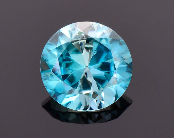 SALE! Excellent Blue Zircon Gemstone from Cambodia, 3.12 cts., 8.7 mm., Round Brilliant Cut