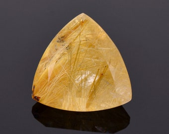 SALE! Intriguing Quartz with Rutile Inclusion Gemstone from Brazil, 12.13 cts., 16 mm., Trillion Shape