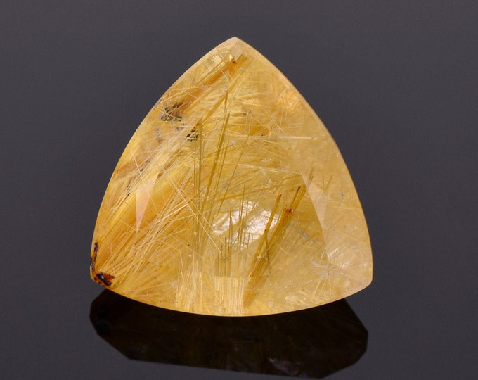 Intriguing Quartz with Rutile Inclusion Gemstone from Brazil, 12.13 cts., 16 mm., Trillion Shape