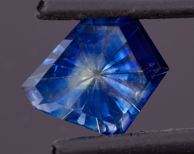 Fantastic Bi-Color Blue and Yellow Fantasy Cut Sapphire from Montana, 2.99 cts., 11x9 mm., Radial Freeform Shape