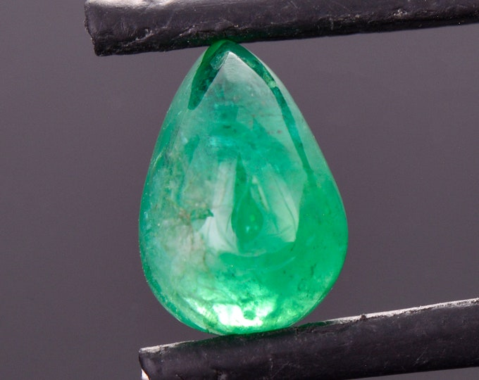 Fine Rich Green Emerald Gemstone from Colombia, 3.28 cts., 11.0x7.7 mm., Cabochon Pear Shape
