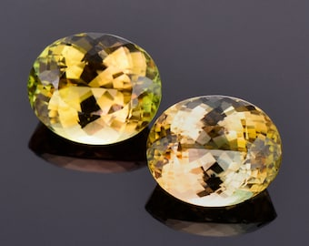 Exquisite Multicolor Tourmaline Gemstone Match Pair, 14.84 tcw., 13x11 mm., Oval Shapes