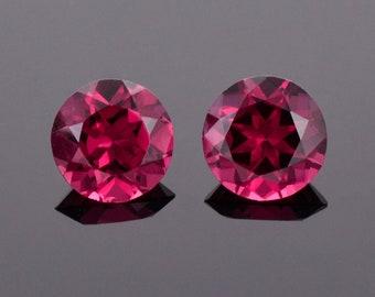 Excellent Cranberry Red Rhodolite Garnet Match Par, 3.90 tcw., 7.6 mm., Round Brilliant Cut