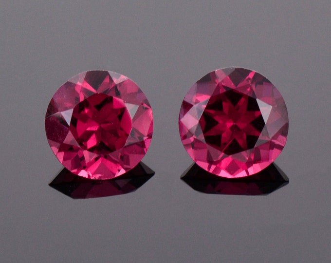 Featured listing image: Excellent Cranberry Red Rhodolite Garnet Match Par, 3.90 tcw., 7.6 mm., Round Brilliant Cut