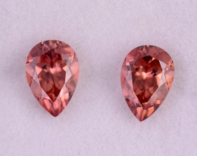 Stunning Peachy Pink Zircon Gemstone Match Pair from Tanzania, 2.20 tcw., 7x5 mm., Pear Shape