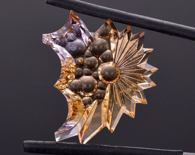 Unique Fantasy Cut Ametrine Gemstone from Bolivia, 14.61 cts., 24x20 mm., Freeform Sculpture
