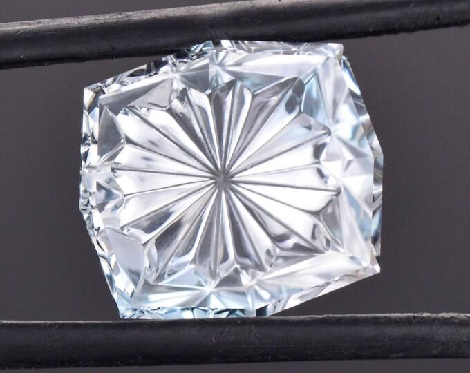 Fabulous Ice Blue Topaz Gemstone from Colorado, 10.84 cts., 15x13 mm., Fantasy Cut Hard Cushion
