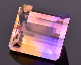 Exquisite Large Ametrine Gemstone from Bolivia, 40.18 cts., 22x19 mm., Step Emerald Cut