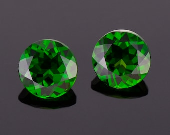 Excellent Rich Green Tourmaline Gemstone Match Pair, 4.18 tcw., 8.0 mm., Round Brilliant Cuts