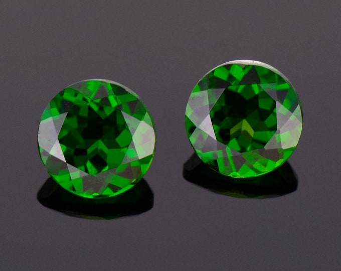 Excellent Rich Green Tourmaline Gemstone Match Pair, 4.18 tcw., 8.0 mm., Round Brilliant Cuts