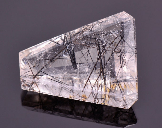 Excellent Quartz with Tourmaline Inclusion Gemstone from Brazil, 19.47 cts., 22x17 mm., Trapezoid Shape