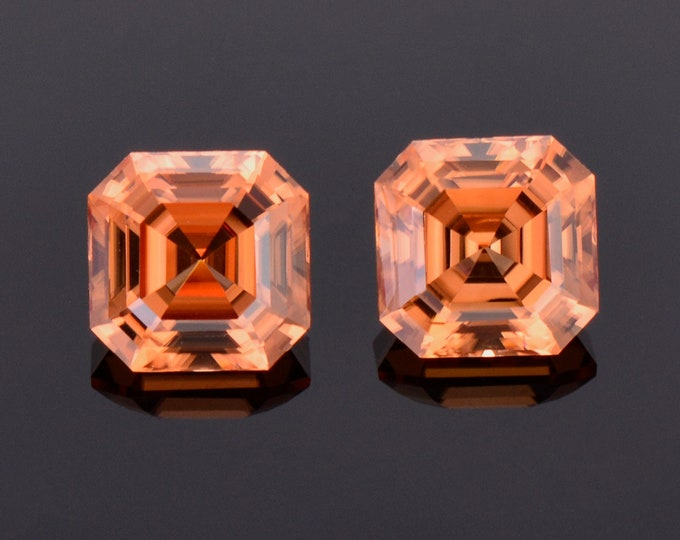 Excellent Orange Zircon Gemstone Match Pair from Tanzania, 5.23 tcw., 7.1 mm., Asscher Cut