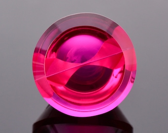 SALE! Stunning Synthetic Lab Grown Ruby Gemstone, 21.12 cts., 16 mm., Fantasy Cut Round Shape