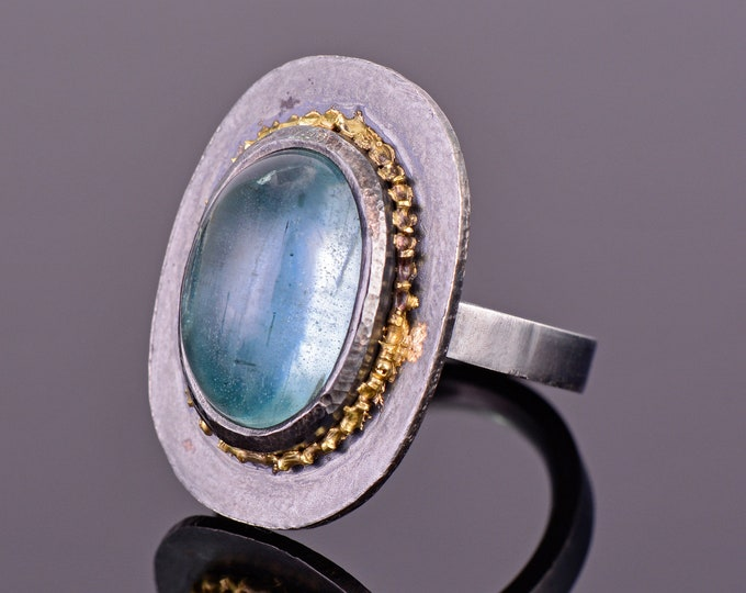 Fantastic Aquamarine Cabochon Ring, Hand Fabricated Oxidized Sterling Silver and 18kt Yellow Gold, 12.50 cts., Ring Size 6.5