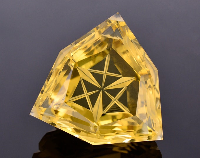 Exquisite Large Golden Citrine Gemstone from Brazil, 60.57 cts., 29 mm., Fantasy Cut Trillion Shape