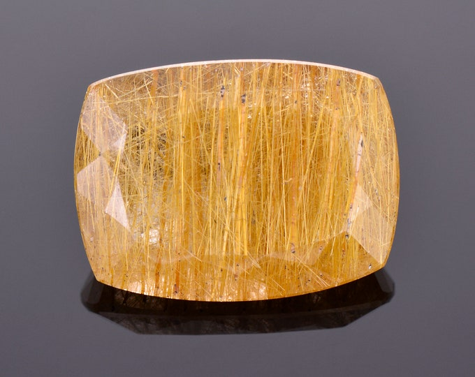 Fantastic Quartz with Rutile Inclusion Gemstone from Brazil, 34.77 cts., 25x18 mm., Cushion Shape