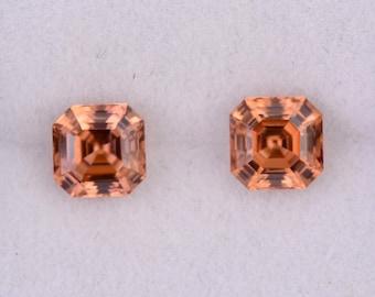 Brilliant Bright Orange Zircon Gemstone Match Pair, 2.53 tcw., 5.5 mm., Asscher Cut