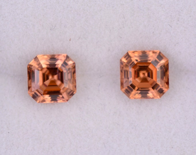 SALE! Brilliant Bright Orange Zircon Gemstone Match Pair, 2.53 tcw., 5.5 mm., Asscher Cut