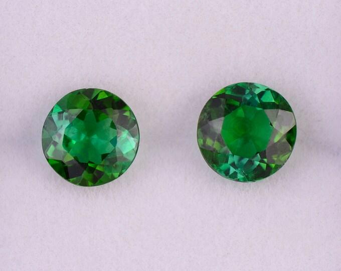 Stunning Rich Green Tourmaline Gemstone Match Pair, 2.68 tcw., 6.75 mm., Round Shapes