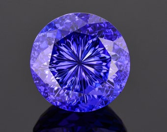 SALE! World Class Blue Purple Fantasy Tanzanite Gemstone, 30.36 cts. 19 mm., Fantasy Cut Radial Round Brilliant
