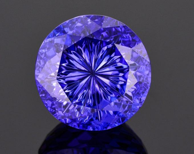 World Class Blue Purple Fantasy Tanzanite Gemstone, 30.36 cts. 19 mm., Fantasy Cut Radial Round Brilliant