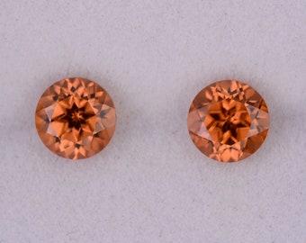 Excellent Orange Zircon Gemstone Match Pair from Tanzania, 2.00 tcw., 5.5 mm., Round Brilliant