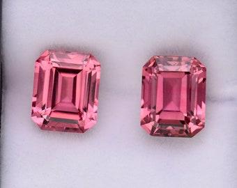 Excellent Pink Tourmaline Gemstone Match Pair, 8.12 tcw., 10x8 mm., Emerald Shape