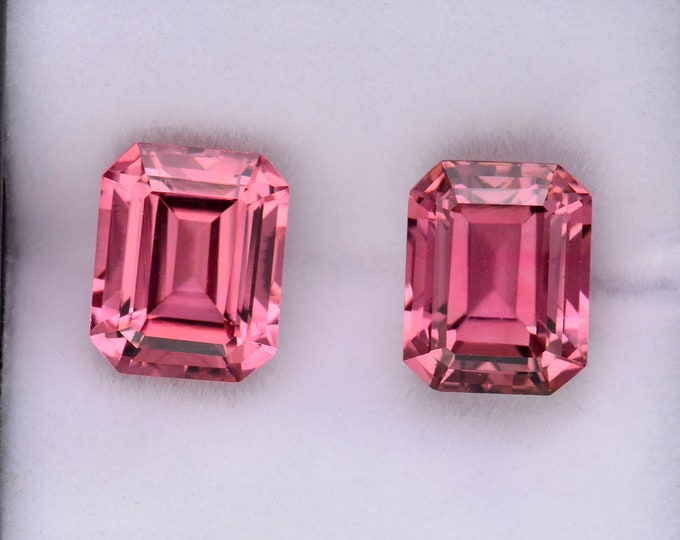 SALE! Excellent Pink Tourmaline Gemstone Match Pair, 8.12 tcw., 10x8 mm., Emerald Shape