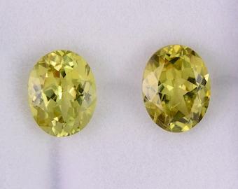 Stunning Yellow Grandite Garnet Match Gemstone Pair, 4.46 tcw., 9x7 mm., Ovals Shape